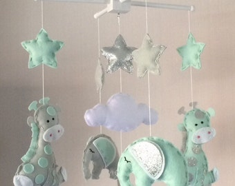 Baby Mobile - Elephant and Giraffe Mobile - Cot Mobile - Baby boy Mobile - Nursery Decor - Pastel Decor - grey, mint green and silver