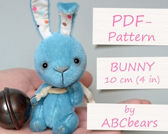 "Miniature Teddy Bunny Pattern. Teddy Pattern. Teddy bear bunny. Soft toy pattern. Teddy tutorial. Teddy bear tutorial (4""/10cm)"