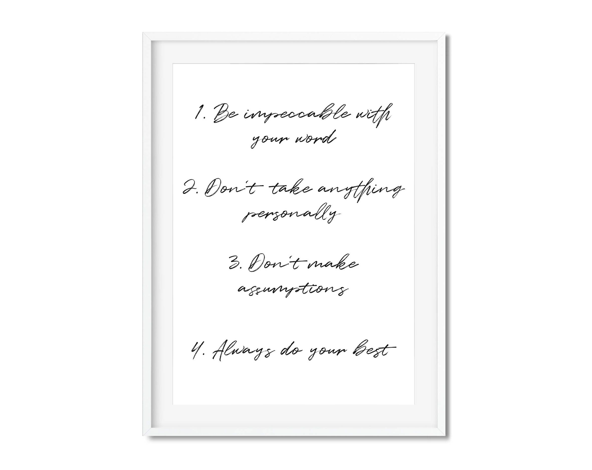 Four Agreements Quotes Inspirational Posterthe 4Th Toltecfour Agreementsthe Four