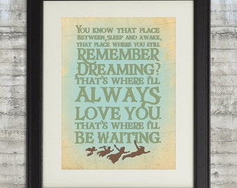 Peter Pan Nursery, Remember Dreaming, I'll Always Love you, That's Where I'll be Waiting - 8x10 Nursery Art Print, Neverland Series