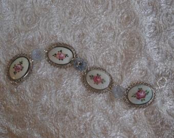 Vintage Guilloche Cameo Bracelet