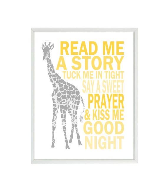 Giraffe Nursery Wall Art Read Me A Story Tuck Me In Tight