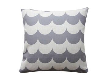 "18""x 18"" Chevron Scallop Pillow Cover, 18""x18"" Decorative Pillow Cover, Waves Geometric Cushion Cover, Throw Cushion Cover 281"