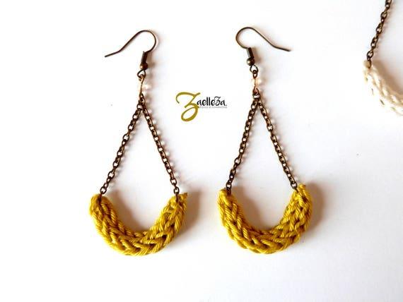 "Mustard yellow knit ALESSIA - ""Al. Aurora BOREALIS"" half moon earrings"