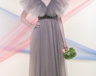 CORA (Size 1-2): Ankle length pale mauve-y pink and two tone-grey tulle layered gown with deep V neckline and a jutting tulle collar