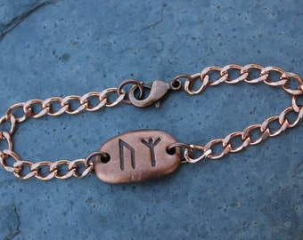 Double rune stone bracelet - solid copper - Handmade Viking Elder Futhark Runes- Custom, personalized- Initial Monogram- free shipping usa