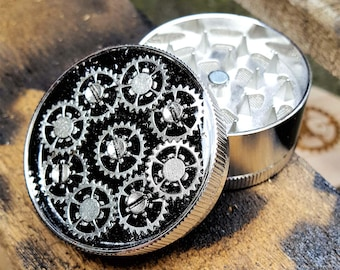 Steampunk Herb Grinder - Steampunk Clock Mech Silver Spice Crusher - Metal herbs and weed grinders - Amazing gift for 4:20 girls and boys