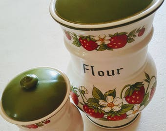 Vintage 1960s Webb strawberry canister set- made in Japan