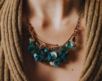 Azsuna's Heart of Surf: copper wire-wrap necklace with shells and stones