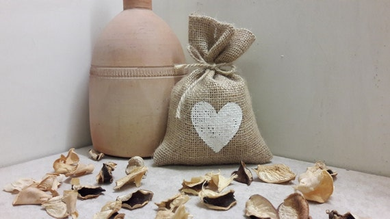 BURLAP FAVOR BAGS with heart in your choice of color - Set of 25, 50 and 75
