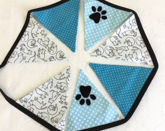 Cat fabric banner, turquoise pennant garland, cat theme party accessory, turquoise room banner