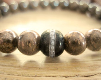 Mens Mala Bracelet - Bronzite Bracelet for Men with Tibetan Mala Bead, Brown Stone Bracelet for Determination, mindfullness, Empowerment