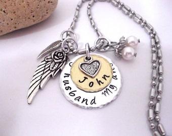 Husband Memorial Jewelry, Husband Memorial, Memorial Gift, My Husband  My Angel, Husband Bereavement, Loss of Husband, Husband Loss