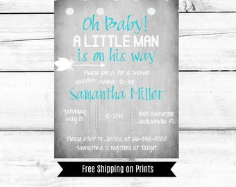 Baby Shower Invitation Boy, Gray and Teal, Arrow, Little Man, Printable, Downloadable