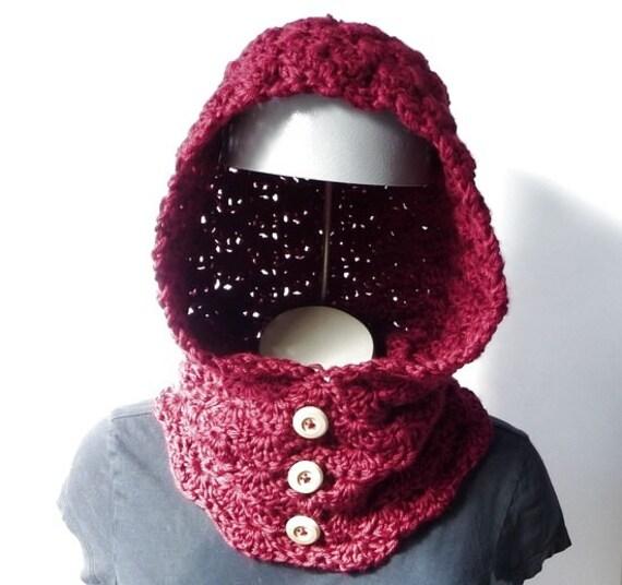 Crochet Neckwarmer CROCHET PATTERN Cowl Hoodie Head Warmer