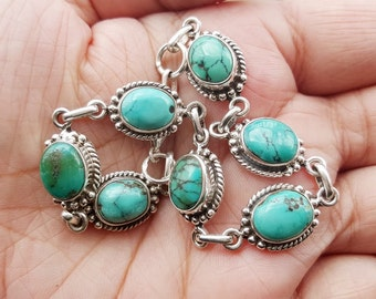 Turquoise Bracelet - Tibetan Nepal Jewelry - Sterling Silver Bracelet - Gemstone Bracelet - Genuine Turquoise Jewelry - Boho Bracelet