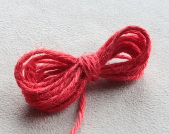 10 meters of natural hemp cord red +/-2mm