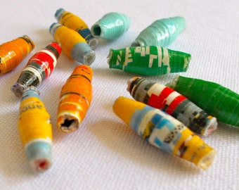 Simba Recycled Paper Bead - Fair Trade from Mzuribeads Uganda Africa - Size 2-2.5cm approx Pack of 10