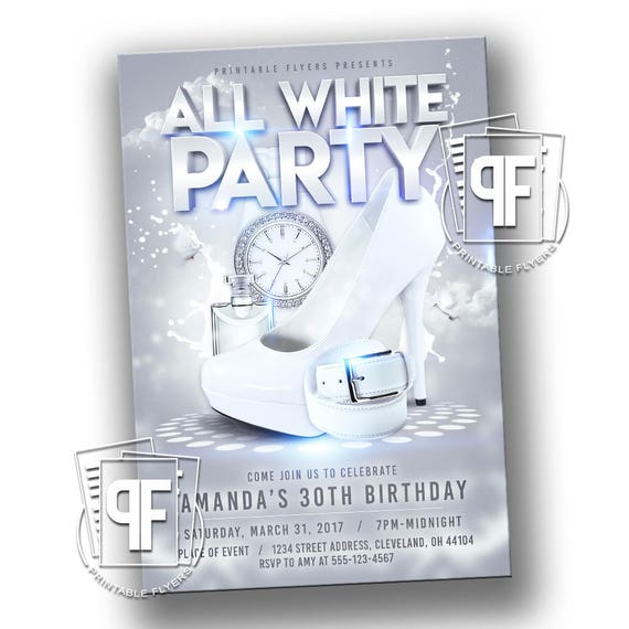 All White Party Invitation All White Affair Invitation All