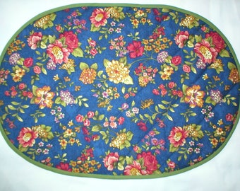Placemats - Set of 4 Quilted Oval Placemats - Gold, Rose and Green Floral on Navy Background - Reversible