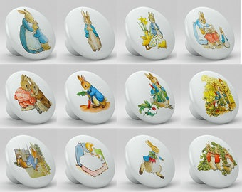 Peter Rabbit Set of 12 Ceramic Knobs for Drawer, Cabinets, Nursery