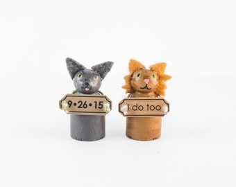 ADD ON 2 Cats with signs - cat Wedding cake topper - pet Sign - I do too Sign - I do Too Banner - cat wedding cake topper - Burlap pet Sign