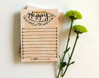 Happy Notepad, Happy list, Things to be happy about, motivational list notepads