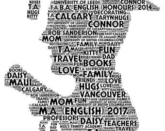 Personalised 2018 Graduation Gift Personalised Word Art Print, Personalised with your own words, University Graduation