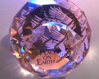 """Swarovski """"PEACE ON EARTH"""" Round Paperweight + Free Gift"""
