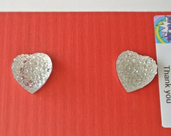 Small Clear Sparkle Heart Post Earring