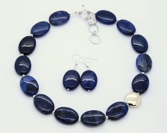 Original Handmade Gemstone and Sterling Silver Necklace Set, Blue Stone Jewelry, Dumortierite