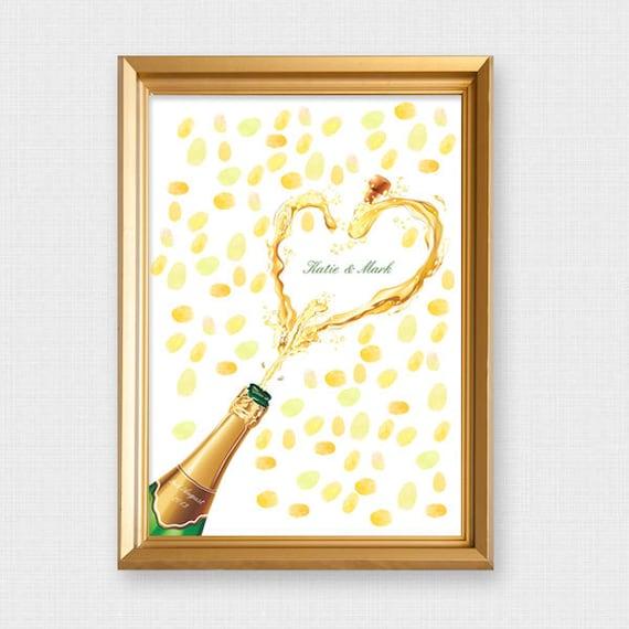 champagne fingerprint guest book printable file custom