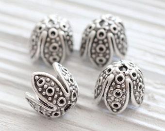 2pc silver flower bead caps, tulip, flower tassel cap, tassel caps, bead cones, end caps, silver tassel cap, unique cones, necklace findings