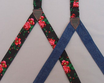 Black Floral Womens Suspenders, Reversible Denim Suspenders, Women Textile Braces, Girlfriend Gift, Suspenders with flowers