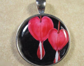 Bleeding Heart Pendant, Bleeding Heart Jewelry, Red Bleeding Heart, Old Fashioned Red Flowers, Bleeding Heart Studs, Red Flower Pendant