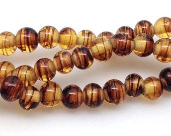 20 Yellow Brown Striped Japan Round Glass Beads