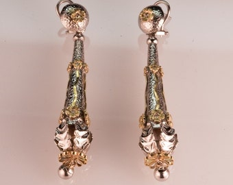 Silver, Pink Gold and Diamond Dangly Earrings