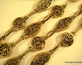 38in Handmade Chain Antique Gold Oval and Round Scrolls Textured Chain Not Soldered - 3 ft - STR9035CH-AG38