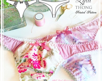 PRINTED Lingerie Sewing Pattern - Lyla Thong -  EVIE la LUVE