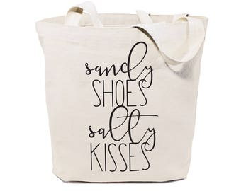 Sandy Shoes and Salty Kisses Cotton Canvas Beach, Shopping and Travel Reusable Shoulder Tote and Handbag, Gifts for Her, Farmers Market, Sea
