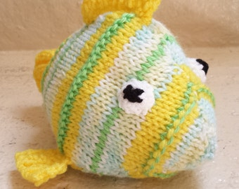 Fish Stuffed Animal Knitted Toy/ Yellow And Green/ Amigurumi Plush Doll/ Hand Knit Fish/ Handmade Toys/ Gift For Kids