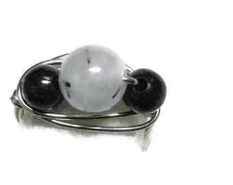 Tourmaline Quartz Wirewrapped Ring