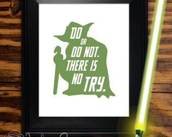 """Yoda Star Wars Printable """"Do or do not. There is no try."""" Star Wars Yoda printable quote, wall art decor (Instant digital download - JPG)"""