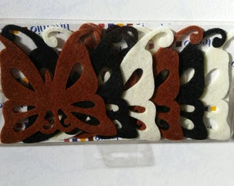 Set of nine felt butterflies