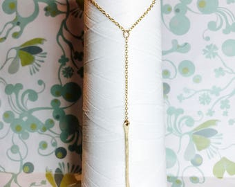 14K Gold FIll  - Y Necklace / gold lariat necklace/ 14k gold necklace  / dainty layering necklace / lariat necklace / bar necklace