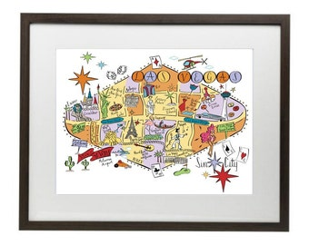 Las Vegas City Map Art Print