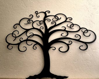 Curly Tree of Life Metal Wall Art Family Tree with Curly Branches Asymmetrical Tree Gallery Wall Decor Shabby Chic Rustic Farmhouse Decor