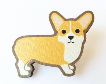 Corgi Wooden Brooch Pin