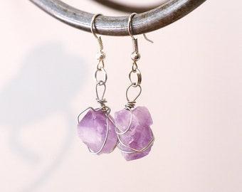 Amethyst earrings / Birthstone earrings / Stone earrings