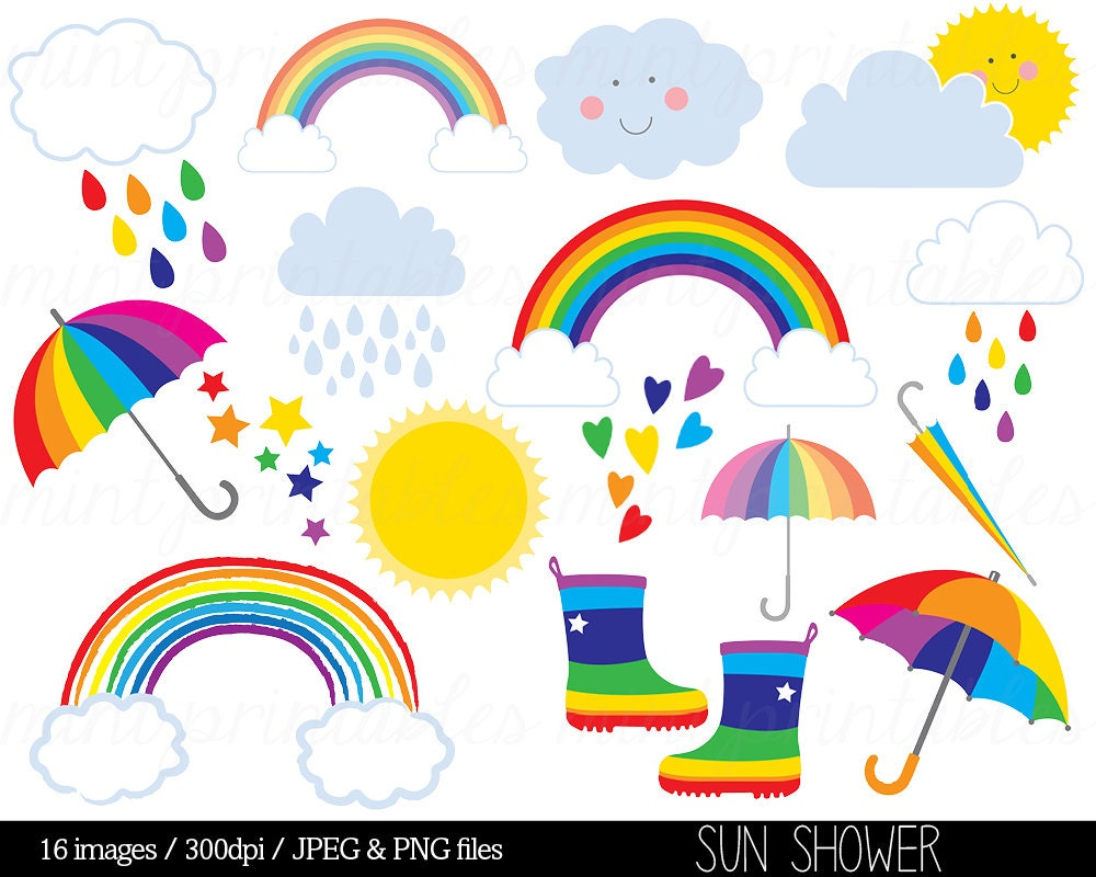Rainbow Clipart Clip Art Rain Cloud Raindrops Sun Sky Stars